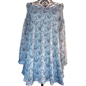 Olivaceous LA Boho Chic Blue Floral Dress Large